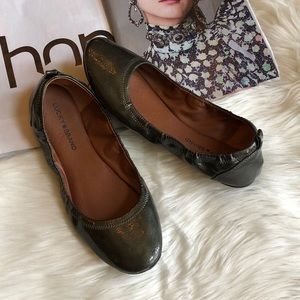 Lucky Brand Eleesia Olive Patent Ballet Flats 10M